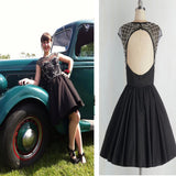 Short black open back simple unique freshman formal homecoming prom dresses,BD0090