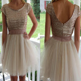 Sequin champagne with sleeve plush size casual homecoming prom gown dress,BD0091
