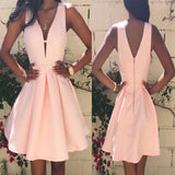 Popular peach pink simple elegant tight freshman homecoming dresses,BD0095
