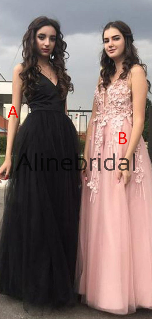 A-Line Black Pink v-Neck Tulle Long Gorgeous Prom Dresses PD1001