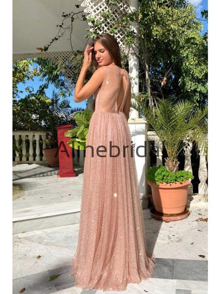 A-Line Stunning Sequin Open Back Sexy Evening Elegant Prom Dresses PD1004