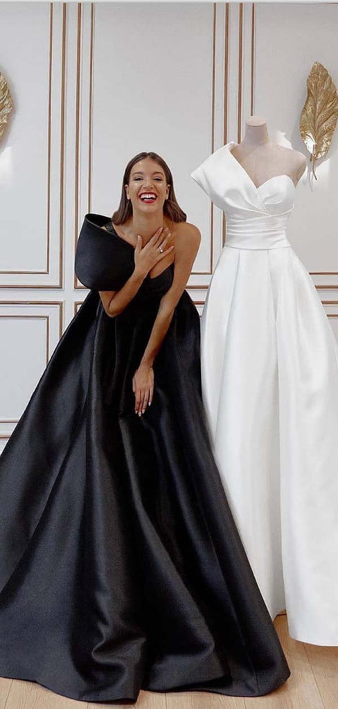 A-line Black White Satin One Shoulder Hot Modest Prom Dresses PD1961