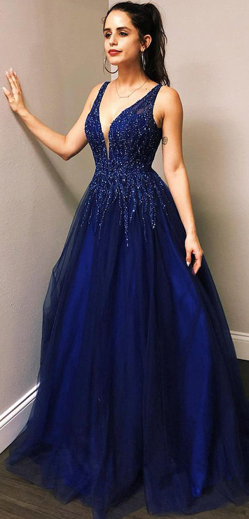 A-line Blue Tulle Sequin Sparkly Shining Formal Modest Formal Prom Dresses PD1691