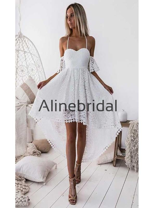 A-line Charming Lace Straps High-Low Homecoming Dresses HD100