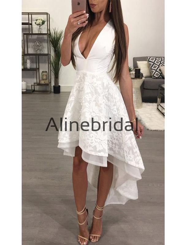 A-line Charming Lace V-neck High-Low Homecoming Dresses HD101