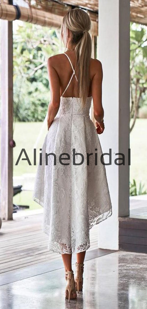 A-line Cheap Lace Straps High-Low Homecoming Dresses HD103