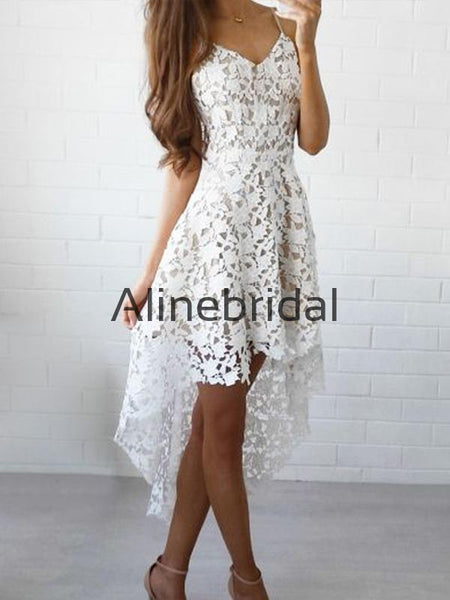 A-line Lace High-Low Spaghetti Straps Short Homecoming Dresses HD104