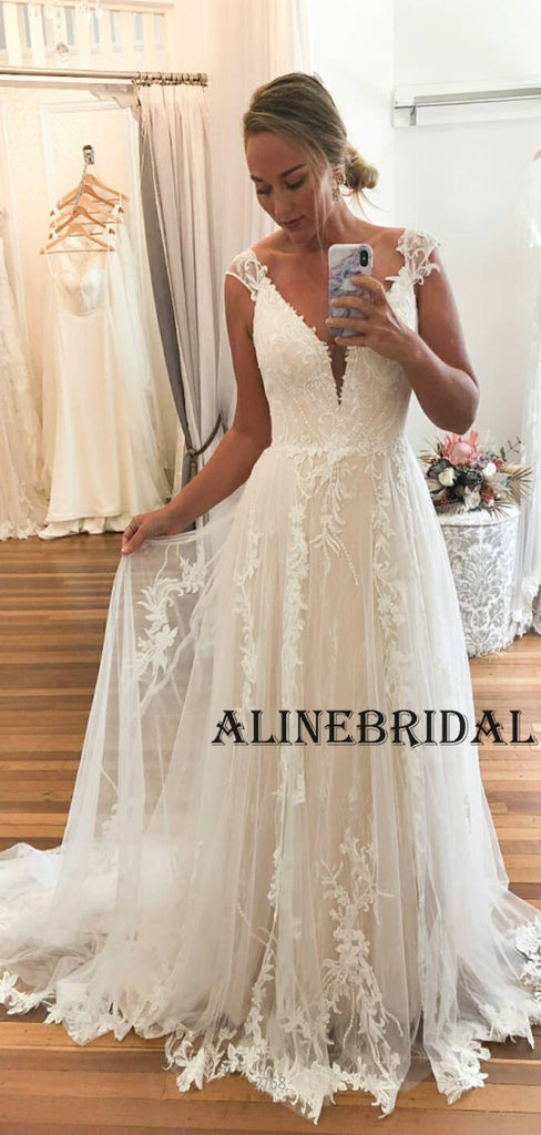 A-line Lace Vintage Beach Wedding Dresses WD1200