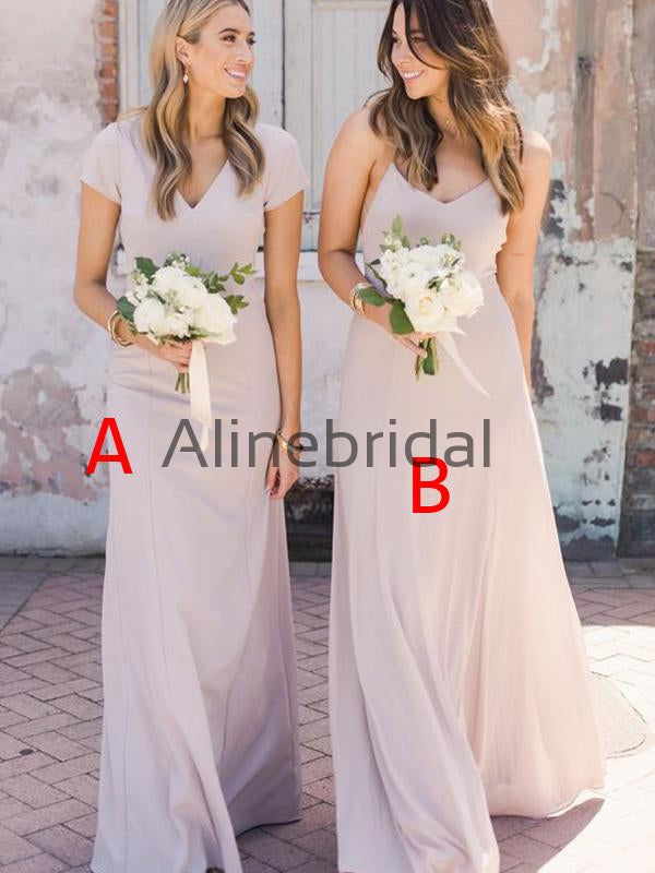 A-line Mismatched Chiffon Simple Cheap Formal Bridesmaid Dresses AB4236