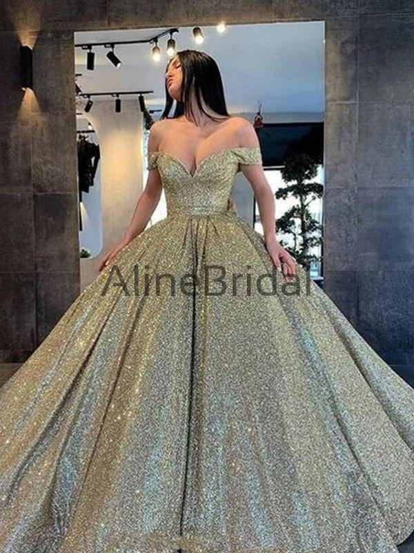 A-line Off the Shoulder Sparkly Long Modest Prom Dresses PD1017