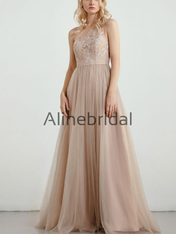 A-line One Shoulder Tulle Top Lace Long Bridesmaid Dresses AB4237