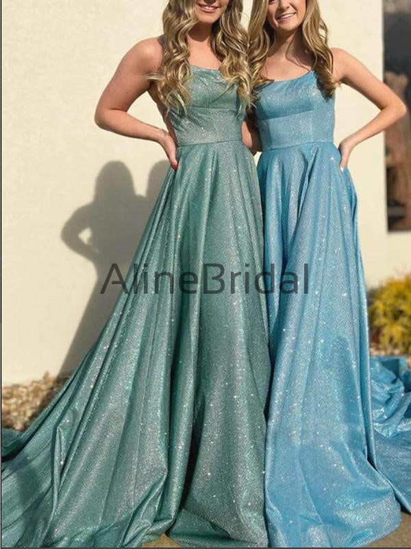 A-line Spahetti Staps Blue Green Stunning Sequin Cheap Prom Dresses PD1018
