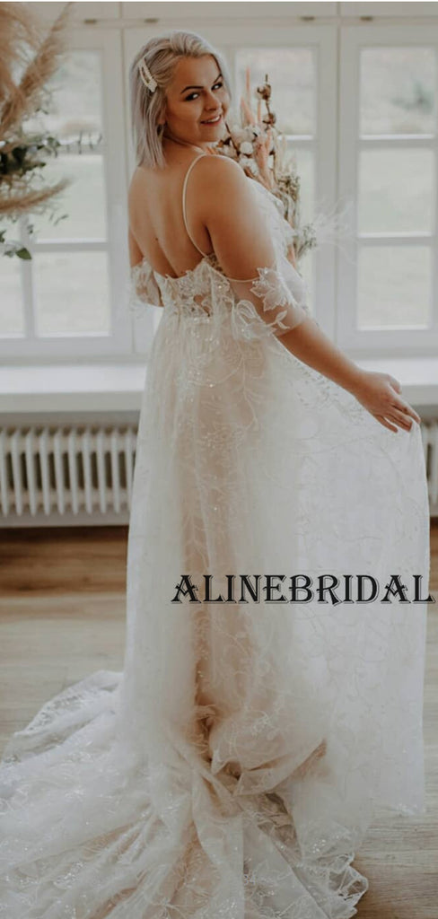 A-line Sparkly Lace Elegant Beach Wedding Dresses WD1202