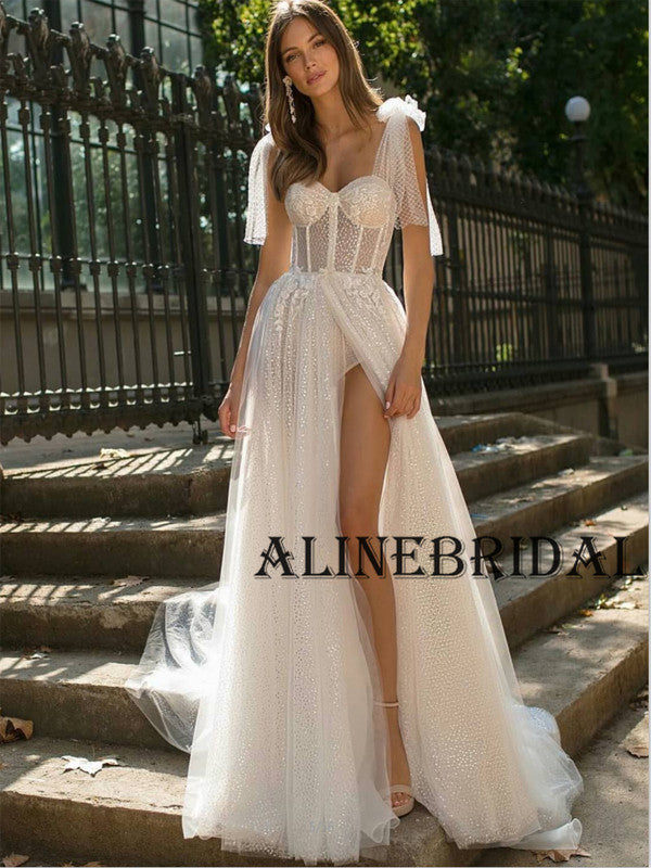 A-line Sparkly Unique Hot Beach Wedding Dresses WD1203