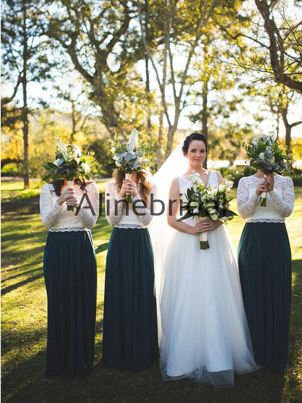 A-line Top Lace Long Sleevs Elegant Modest Bridesmaid Dresses AB4226