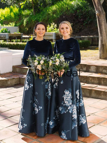 A-line Unique Long Sleeves Elegant Formal Bridesmaid Dresses AB4227