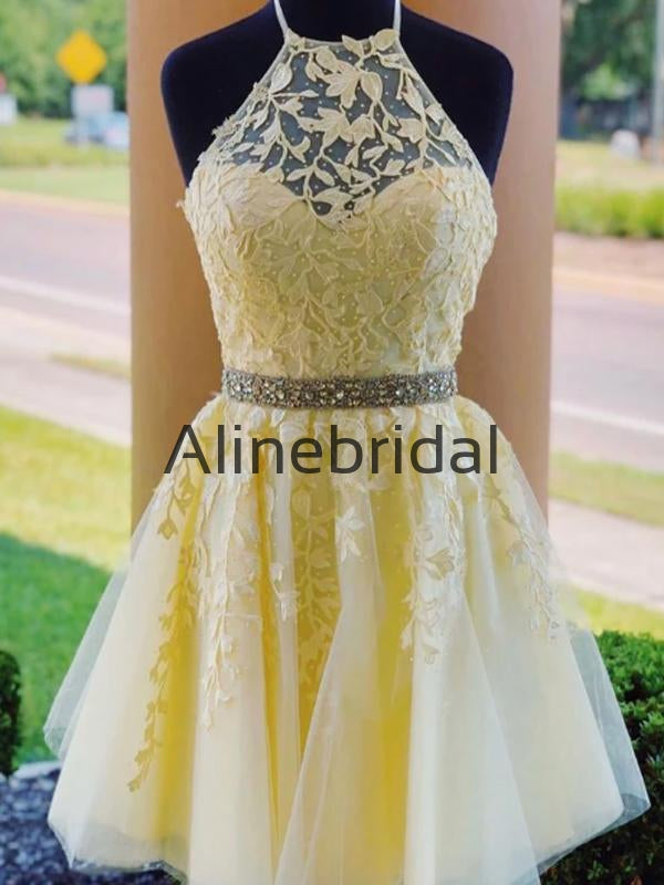 A-line Yellow Lace Popular Pretty Homecoming Dresses HD106