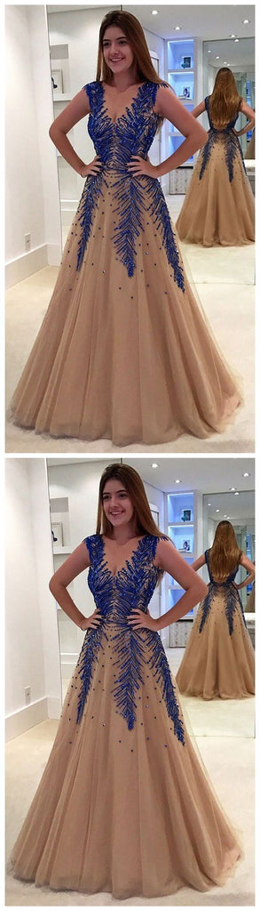 A Line V Neck Modest Elegant Hot Champagne Tulle Prom Dresses ,PD1208