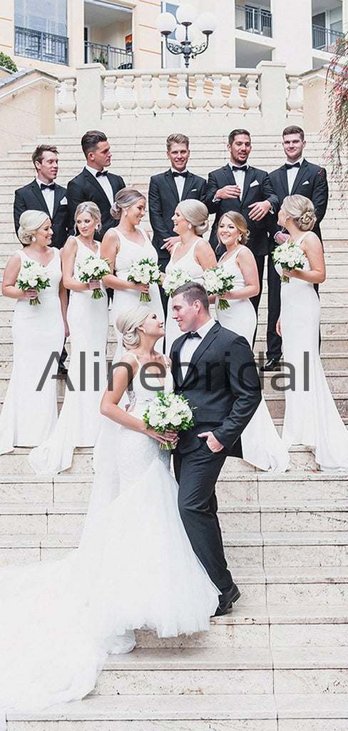 Affordable White Satin Mermaid Simple Long Bridesmaid Dresses AB4210