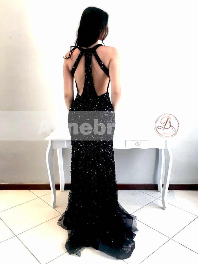 Affordable Black Sparkly Rhinestone Mermaid Unique Prom Dresses ,PD00098
