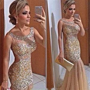 Long Modest Sparkly Backless Charming Popular Evening Unique Style Prom Dress,PD0100