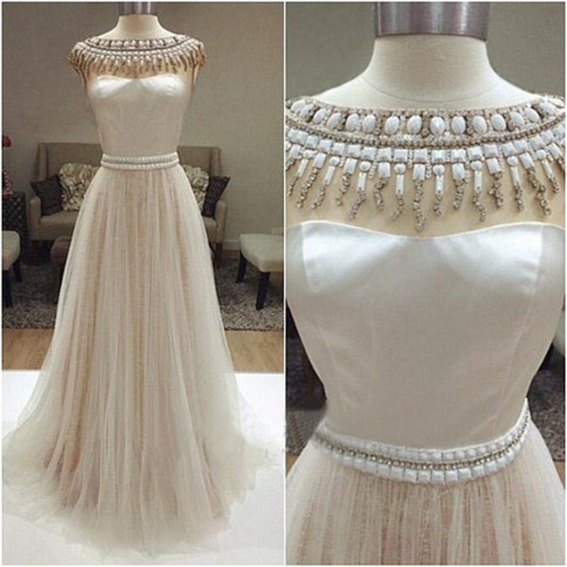 Long Ivory Charming Beaded A-line Sleeveless Wedding Dresses, WD0126
