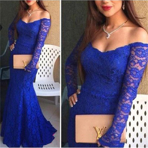 New Arrival Long Sleeve Royal Blue Lace Sexy Mermaid Cocktail Prom Gown Dress,PD0116