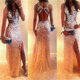 Long Open Back Gorgeous Sparkly Unique Most popular Evening Party Prom Dresses Online,PD0117
