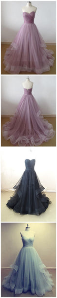 Long Custom Strapless Lilac Sweetheart A-line Organza Evening Party Prom Dress.PD0125