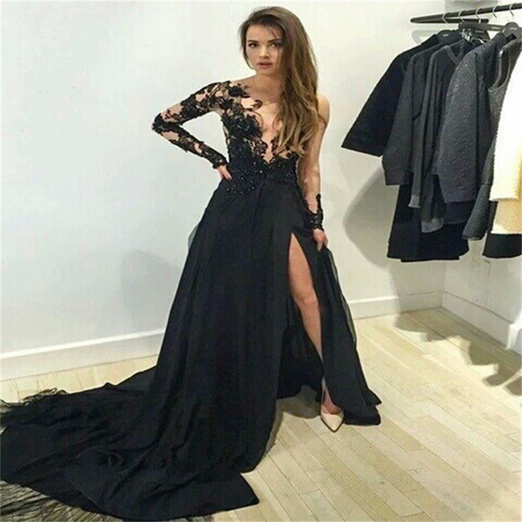 Long Sleeve White Lace Bodice Chiffon Skirt Elegant Simple: Long Sleeve Black Lace Ball Gown Sexy Charming Prom Dress