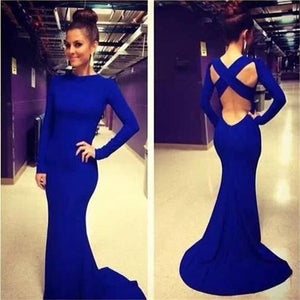 Popular Royal Blue Mermaid Sexy Pretty Open Back Unique Style Prom Dress,PD0133