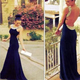Long Scoop Tulle Lace Charming Backless Formal Cocktail Prom Dress,PD0139