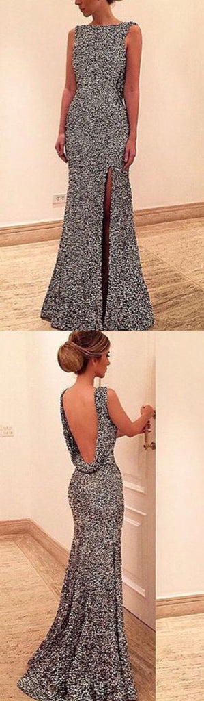 Long Backless sliver Slip Side Sexy Elegant Charming Casual Evening Prom Dress PD0142