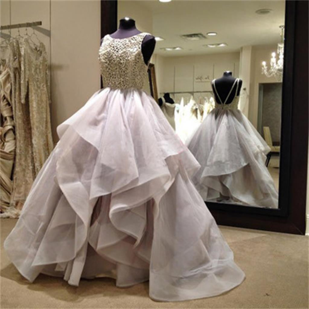 Long Fluffy Organza Princess Ball Gown Backless Wedding Dresses, WD0125