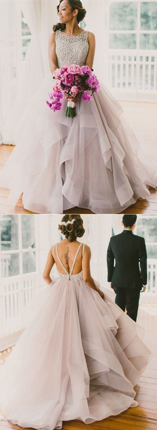 Long Fluffy Organza Princess Ball Gown Backless Wedding Dresses ...