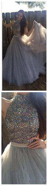 Long Custom High Neck Gray Sparkly Cocktail Evening Party Prom Dresses Online,PD0170