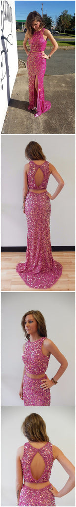 Long Custom Two Pieces Sparkle Side Slit Open Back Cocktail Evening Party Prom Dresses Online,PD0180