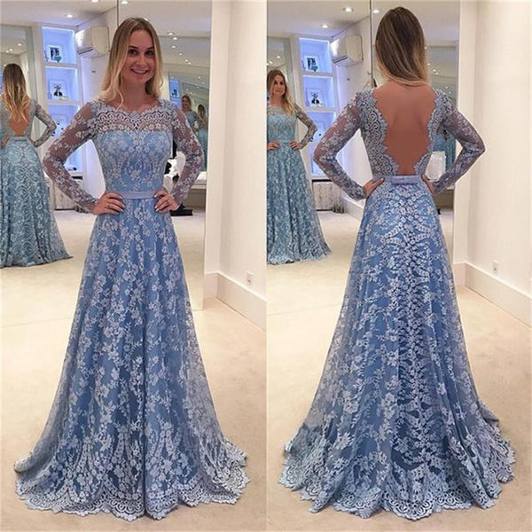 Long Sleeve  Blue Lace A-line Open Back Cocktail Evening Party Prom Dresses Online,PD0182
