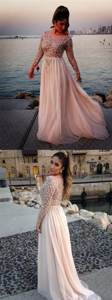 Long Sleeves Sexy See-through Ball Gown Cocktail Formal Prom dress,PD0186