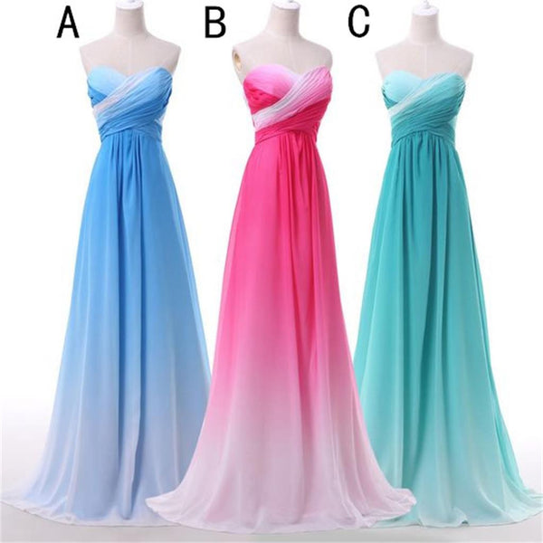 Strapless Sweetheart Gradient Chiffon Cheap Evening Party Bridesmaid Prom Dresses Online,PD0191