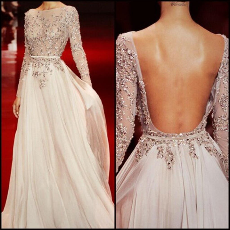 Long Sleeves Charming Floor-length Backless Cocktail Evening Party Cocktail Prom Dresses Online,PD0201
