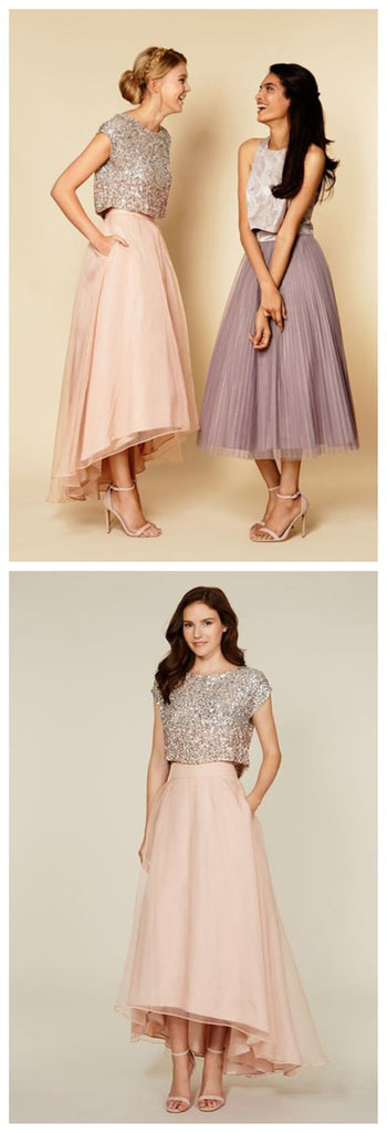 Mismatched Two Pieces Short Sleeve Sequins Tea Length Vintage High Low Unique Style Prom Dress, PD0022