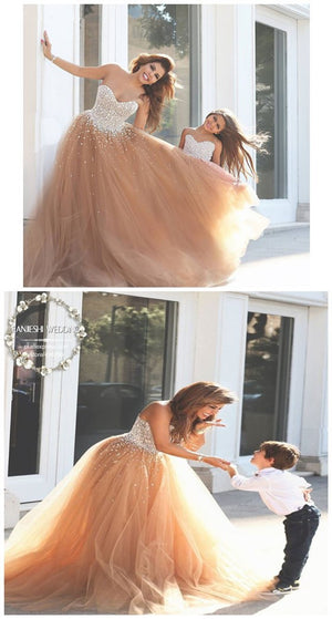 Sweetheart Strapless Tulle Popular Sequin Custom Wedding Dresses ,WD0130