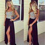 Silver Sleeveless Side Slit Black Evening Party Prom Dress,PD0047