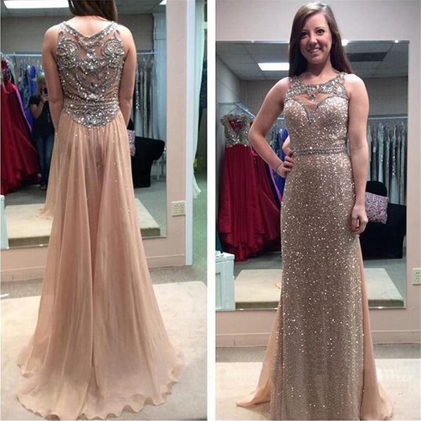 Long Column Sparkly Sequins Sleeveless Glitter Charming Sweep Trailing Prom Dress,PD0069