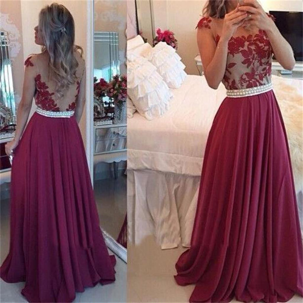 Long Custom Red Chiffon Ball Gown Casual Lace Prom Dresses Online,PD0071