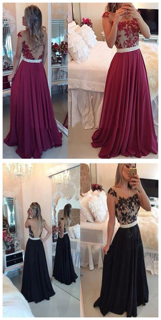 Long Custom Red Chiffon Ball Gown Casual Lace Prom Dresses Online ...