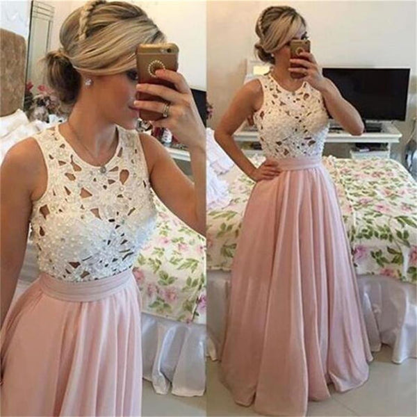 Long Pink Chiffon White Lace Fashion Evening Party Prom Dresses,PD0073