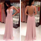 Long Pink V-neck Backless Pretty Evening party Prom Dresses Online,PD0076