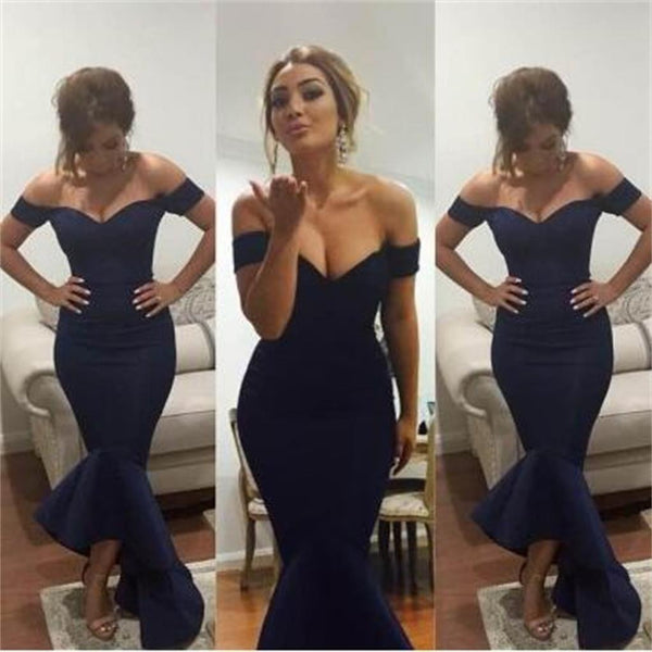 fc47e01b50a Long Navy Blue Mermaid Off Shoulder Formal Evening Party Formal Prom Dress